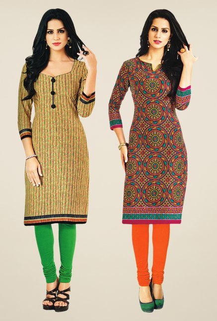 Salwar Studio Beige & Multicolor Kurtis (Pack Of 2)