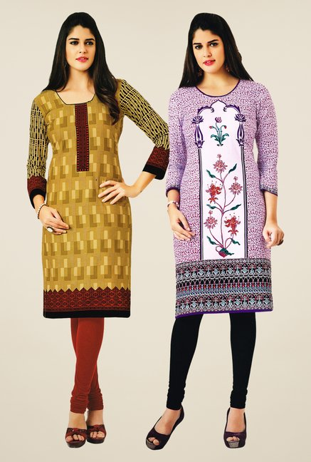 Salwar Studio Mustard & Purple Kurtis (Pack Of 2)