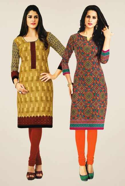 Salwar Studio Mustard & Multicolor Kurtis (Pack Of 2)