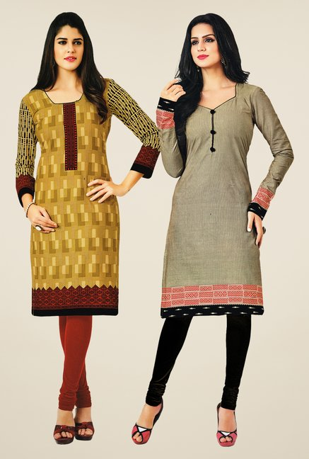 Salwar Studio Mustard & Grey Kurtis (Pack Of 2)