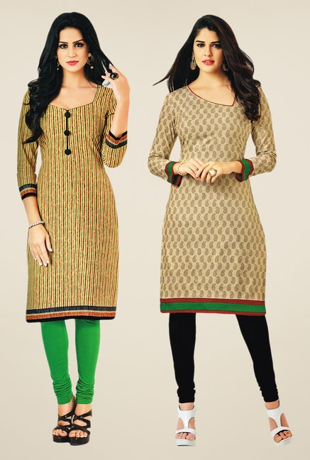 Salwar Studio Beige Kurtis (Pack Of 2)