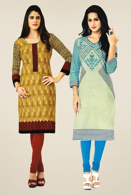 Salwar Studio Mustard & Cream Kurtis (Pack Of 2)
