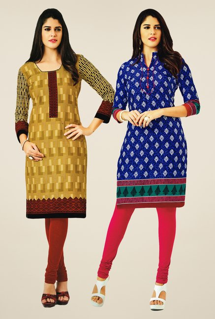 Salwar Studio Mustard & Blue Kurtis (Pack Of 2)