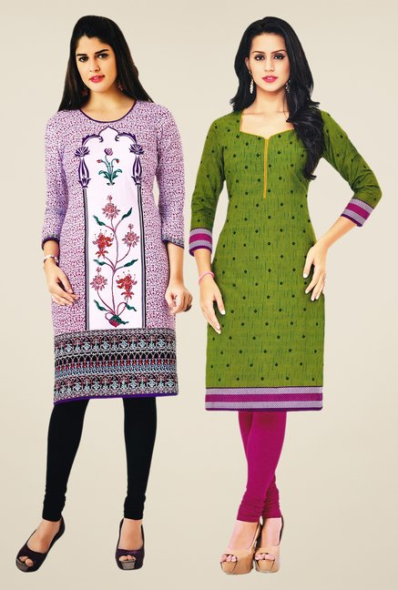 Salwar Studio Purple & Green Kurtis (Pack Of 2)