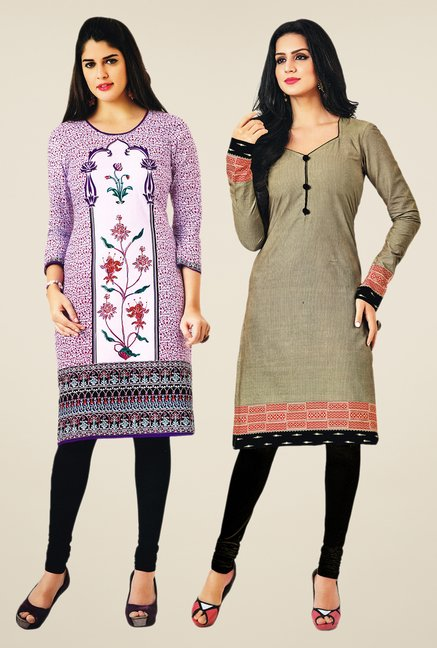 Salwar Studio Purple & Grey Kurtis (Pack Of 2)