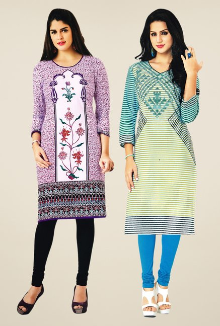 Salwar Studio Purple & Cream Kurtis (Pack Of 2)