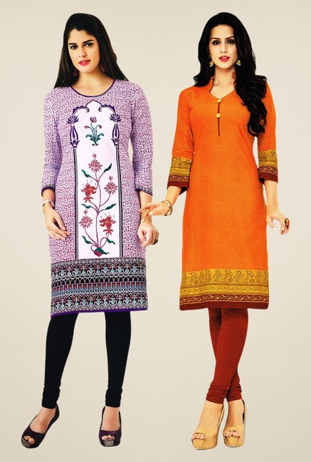 Salwar Studio Purple & Orange Kurtis (Pack Of 2)