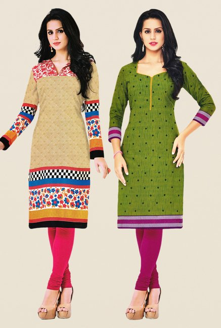 Salwar Studio Beige & Green Kurtis (Pack Of 2)