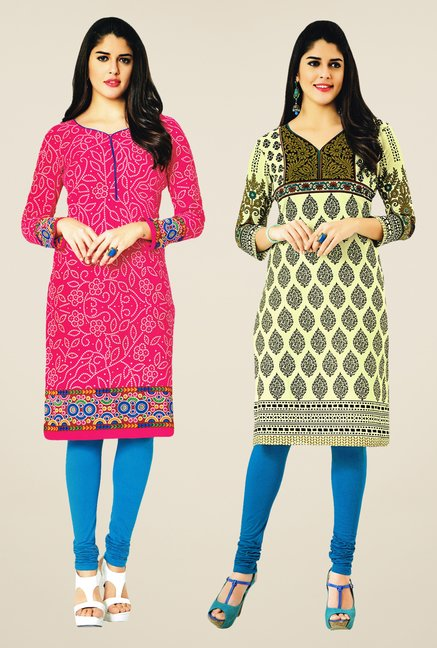 Salwar Studio Pink & Cream Kurtis (Pack Of 2)
