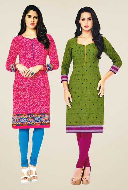 Salwar Studio Pink & Green Kurtis (Pack Of 2)