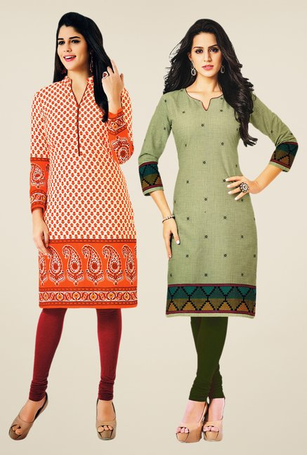 Salwar Studio Orange & Olive Kurtis (Pack Of 2)