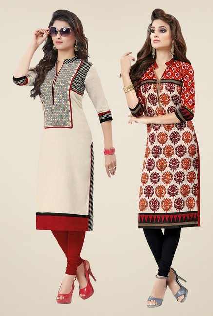 Salwar Studio Cream & Red Kurtis (Pack Of 2)