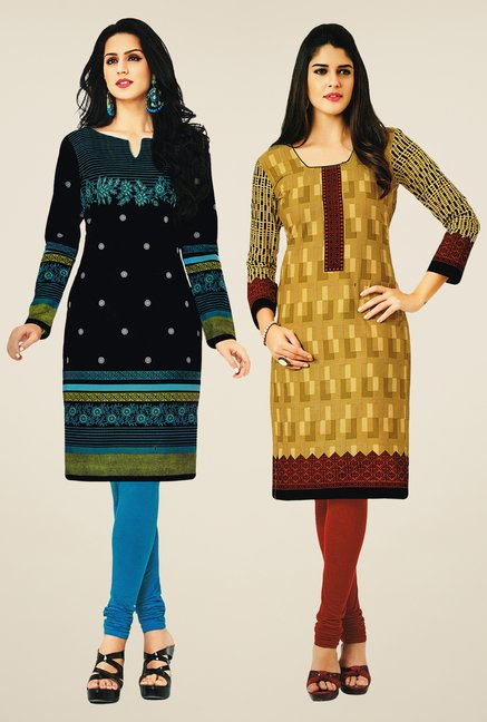 Salwar Studio Black & Mustard Kurtis (Pack Of 2)