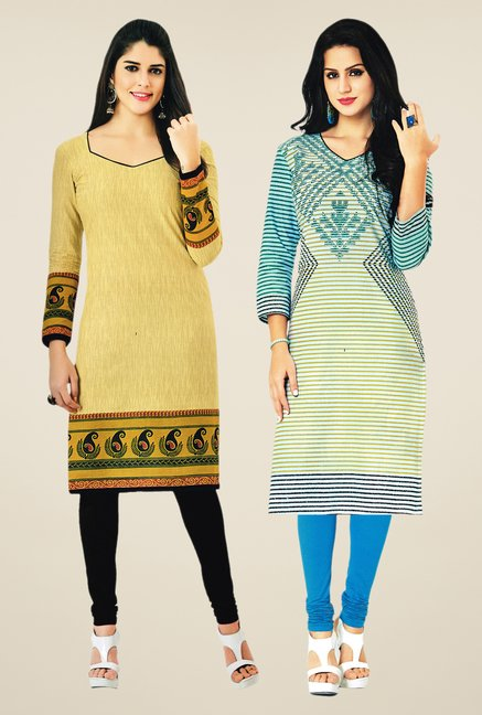 Salwar Studio Beige & Cream Kurtis (Pack Of 2)