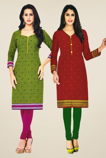 Salwar Studio Green & Maroon Kurtis (Pack Of 2)