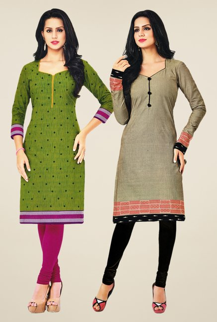 Salwar Studio Green & Grey Kurtis (Pack Of 2)