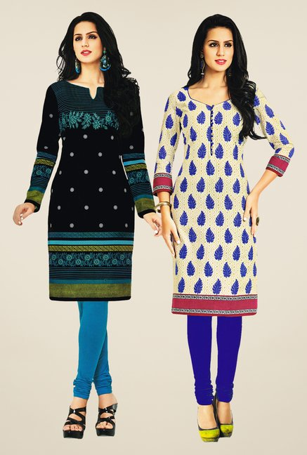 Salwar Studio Black & Cream Kurtis (Pack Of 2)