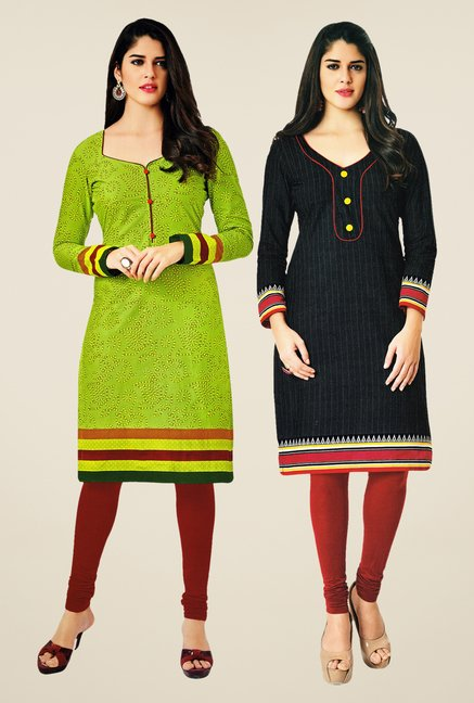 Salwar Studio Green & Black Kurtis (Pack Of 2)