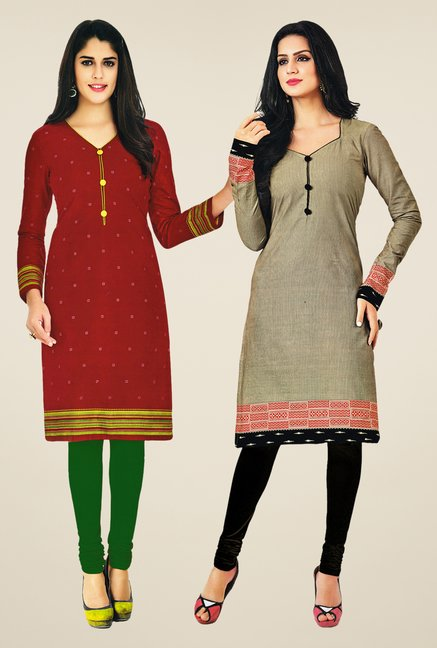 Salwar Studio Maroon & Grey Kurtis (Pack Of 2)