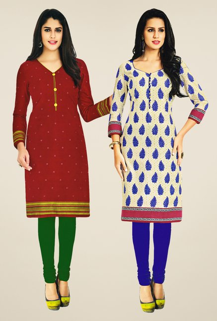 Salwar Studio Maroon & Cream Kurtis (Pack Of 2)