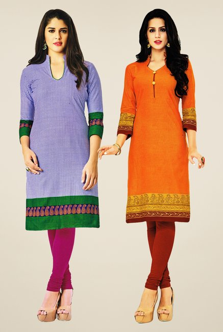Salwar Studio Blue & Orange Kurtis (Pack Of 2)