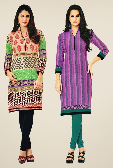 Salwar Studio Multicolor & Pink Kurtis (Pack Of 2)