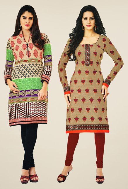 Salwar Studio Multicolor & Beige Kurtis (Pack Of 2)
