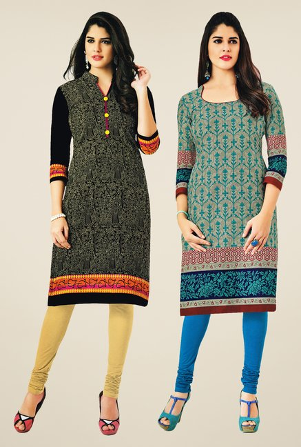 Salwar Studio Black & Grey Kurtis (Pack Of 2)
