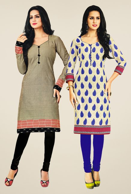 Salwar Studio Grey & Cream Kurtis (Pack Of 2)