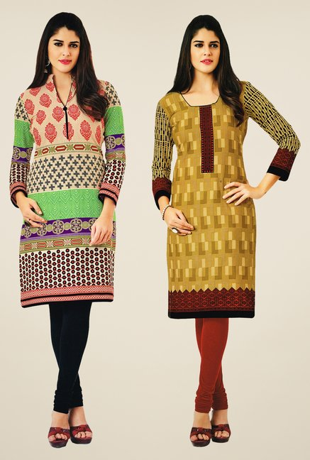 Salwar Studio Multicolor & Mustard Kurtis (Pack Of 2)