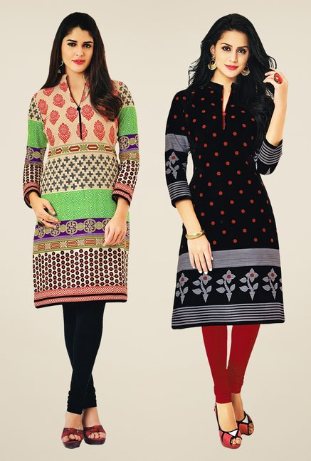 Salwar Studio Multicolor & Black Kurtis (Pack Of 2)