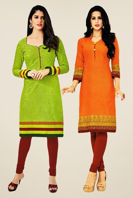 Salwar Studio Green & Orange Kurtis (Pack Of 2)