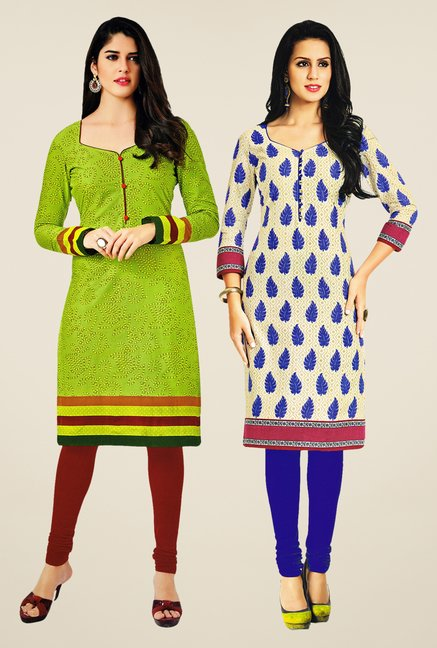 Salwar Studio Green & Cream Kurtis (Pack Of 2)