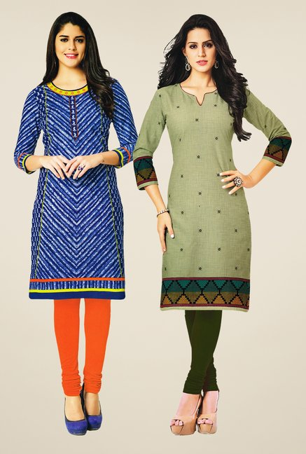 Salwar Studio Blue & Olive Kurtis (Pack Of 2)