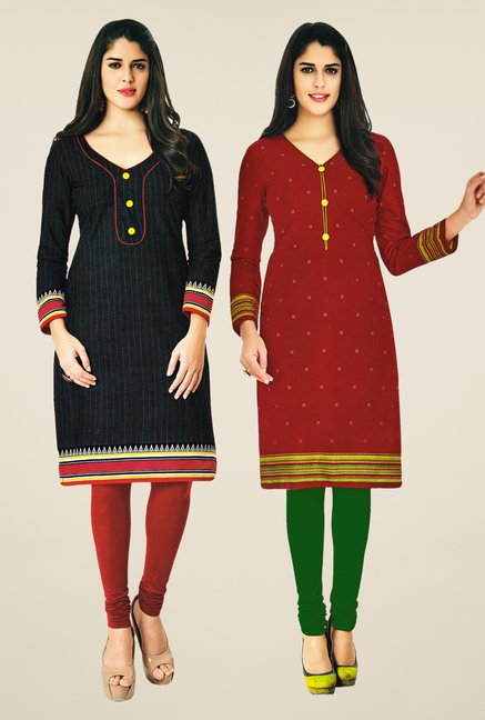 Salwar Studio Black & Maroon Kurtis (Pack Of 2)