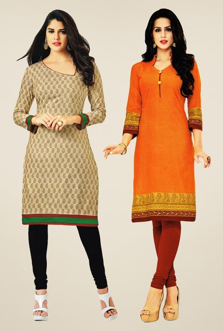 Salwar Studio Beige & Orange Kurtis (Pack Of 2)