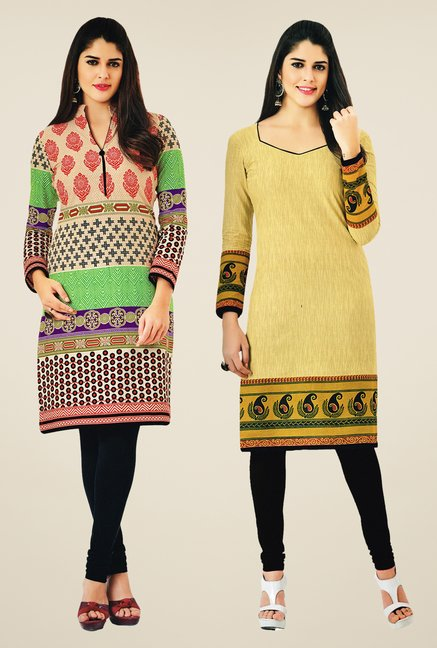 Salwar Studio Multicolor & Yellow Kurtis (Pack Of 2)