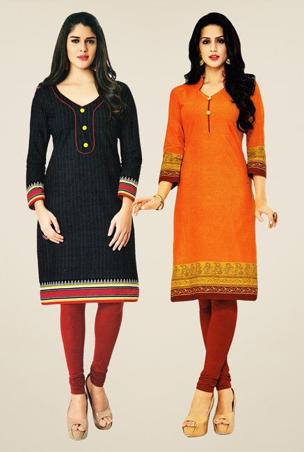 Salwar Studio Black & Orange Kurtis (Pack Of 2)