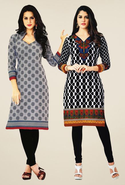 Salwar Studio Grey & Black Kurtis (Pack Of 2)