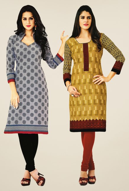 Salwar Studio Grey & Mustard Kurtis (Pack Of 2)