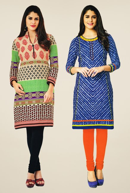 Salwar Studio Multicolor & Blue Kurtis (Pack Of 2)