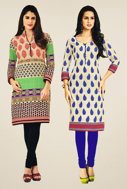 Salwar Studio Multicolor & Cream Kurtis (Pack Of 2)