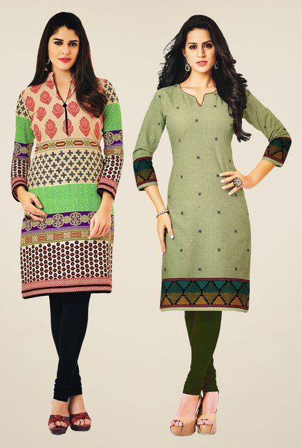 Salwar Studio Multicolor & Green Kurtis (Pack Of 2)
