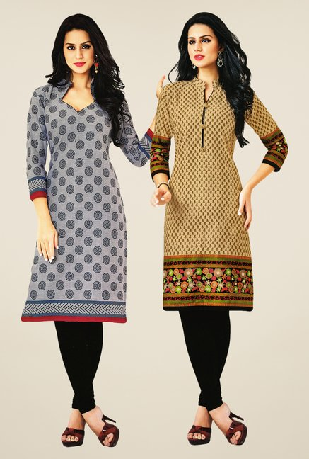 Salwar Studio Grey & Beige Kurtis (Pack Of 2)
