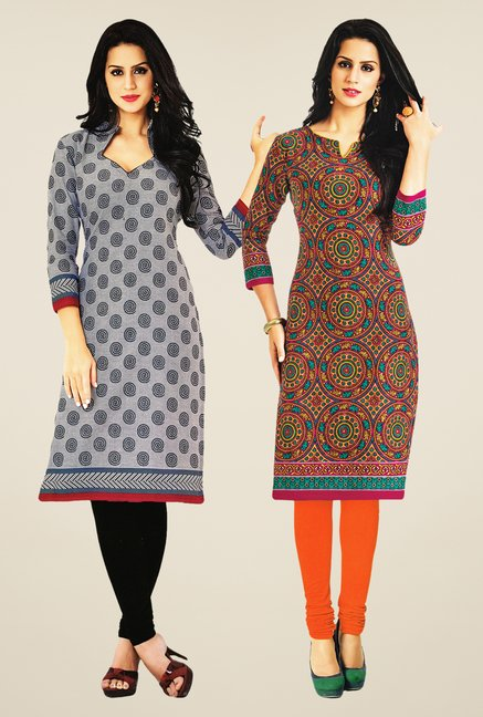 Salwar Studio Grey & Multicolor Kurtis (Pack Of 2)