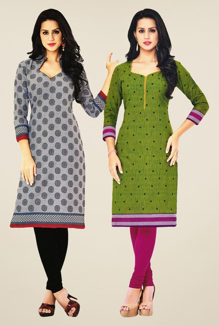 Salwar Studio Grey & Green Kurtis (Pack Of 2)