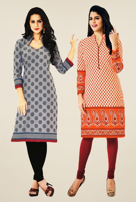 Salwar Studio Grey & Orange Kurtis (Pack Of 2)
