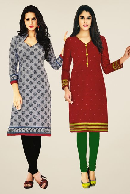 Salwar Studio Grey & Maroon Kurtis (Pack Of 2)