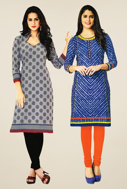 Salwar Studio Grey & Blue Kurtis (Pack Of 2)