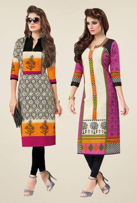 Salwar Studio Cream & Pink Kurtis (Pack Of 2)